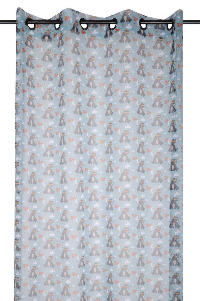 Perdea albastra cu ursulet Willy Gris 140x260 cm