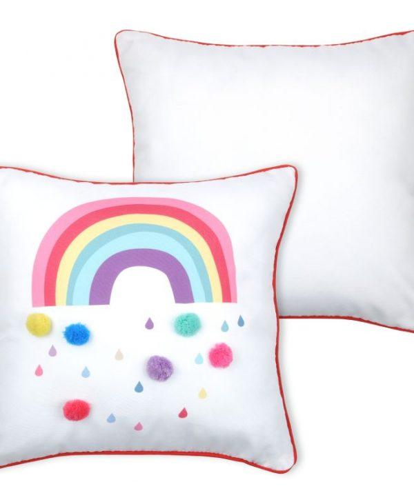 Perna alba curcubeu Cloudy Multicolor 40X40 cm