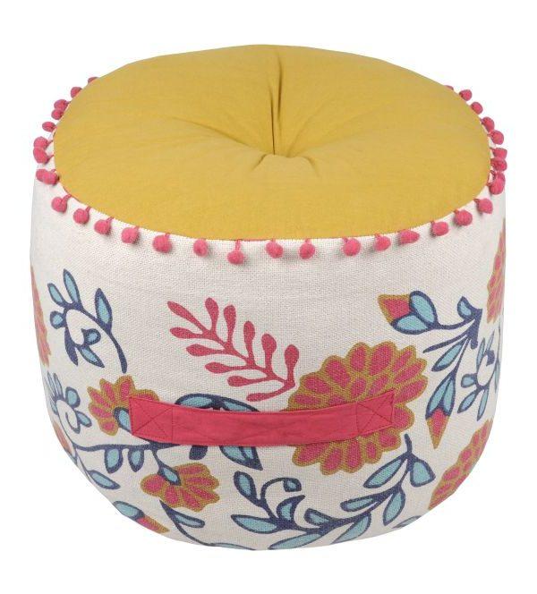 Perna bej florala rotunda Anya Multicolore 40x30 cm