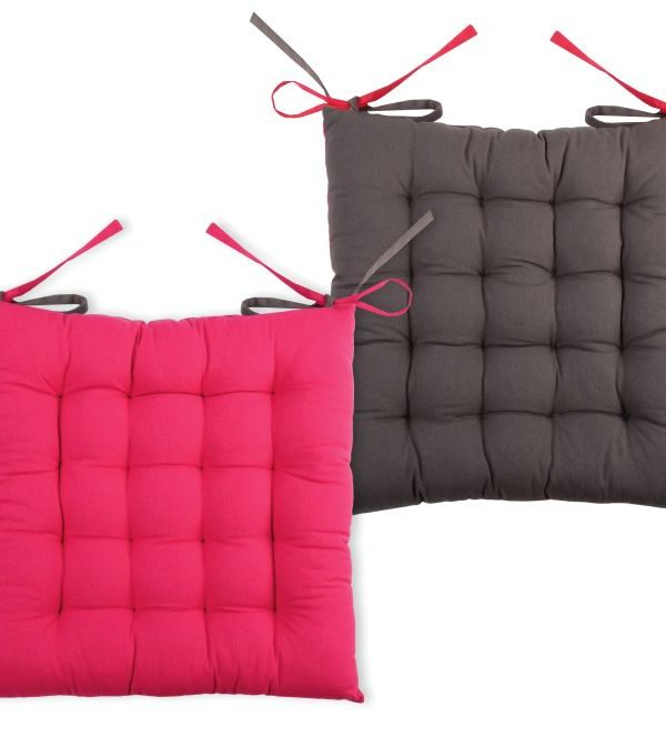 Perna bumbac scaun Duo Galette Gris Fuchsia 40x40 cm