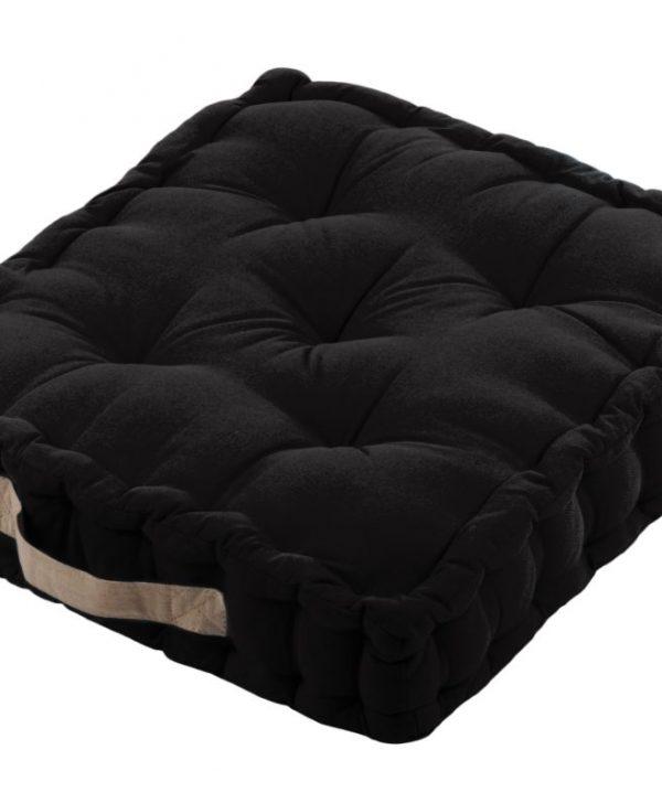 Perna neagra podea bumbac Duo Noir/Lin 45x45x10 cm