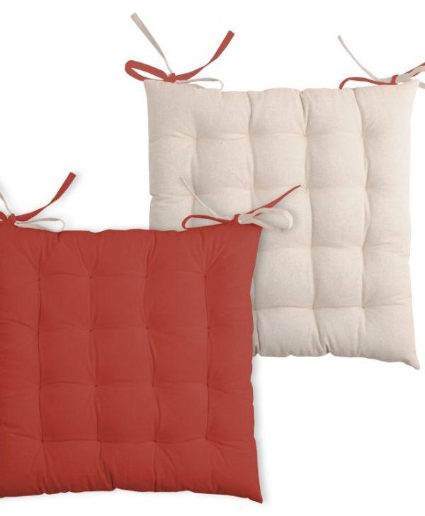 Perna scaun bumbac Duo Galette Terracotta Lin 40x40 cm