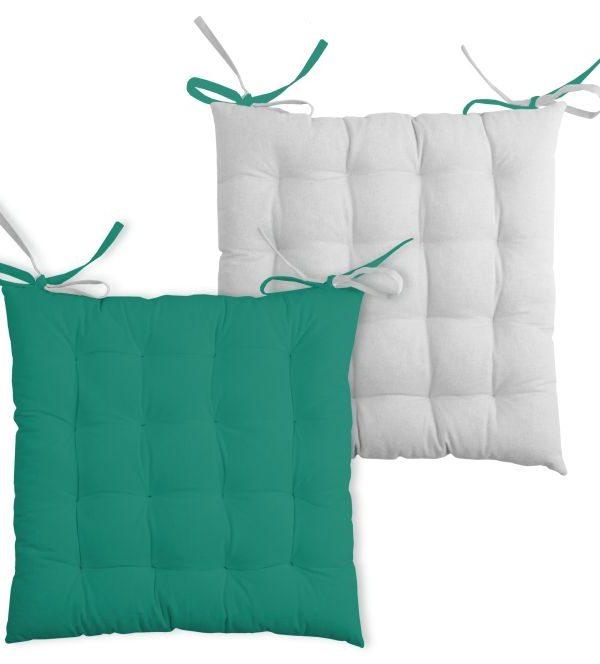 Perna scaun verde Duo Galette Emeraude Perle 40x40 cm