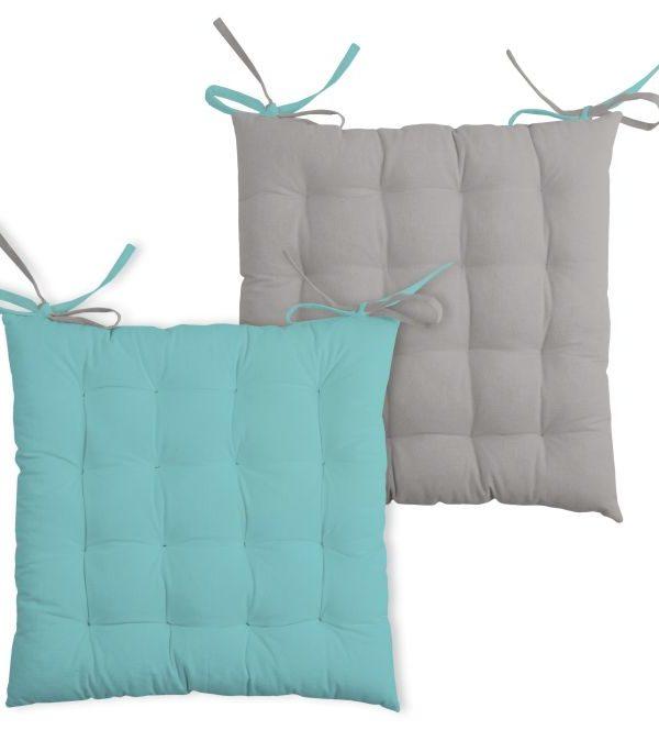 Perna turcoaz scaun Duo Galette Aqua Souris 40x40 cm
