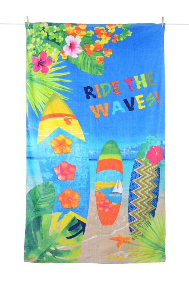Prosop plaja placa surf Wavy 100x180 cm