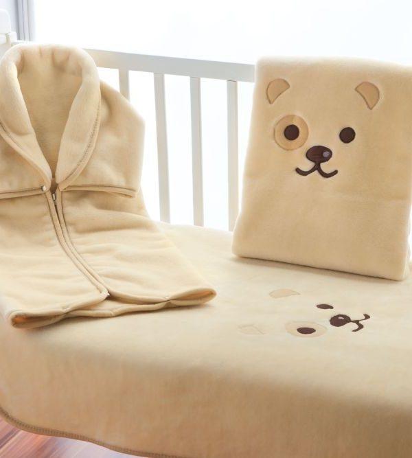 Sac dormit bej bebelus catelus Puppy 6299 Nacar 80x90 cm