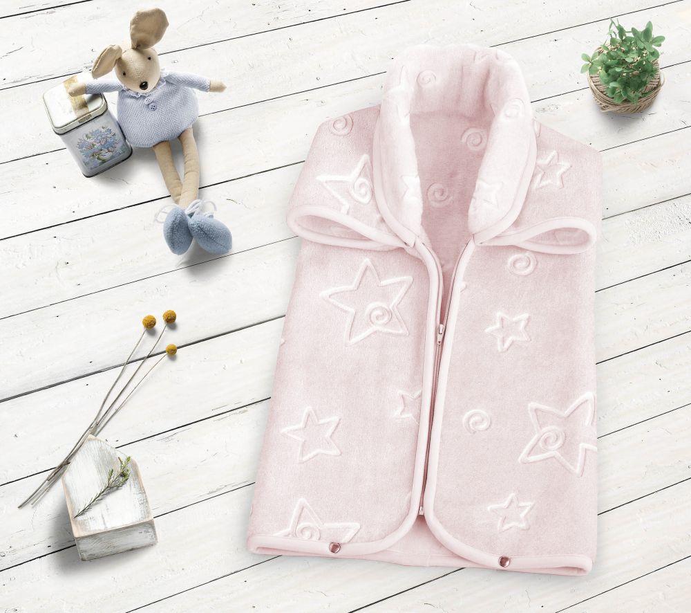 Sac dormit patura roz bebelusi stelute 6628 Rosa 80x90 cm