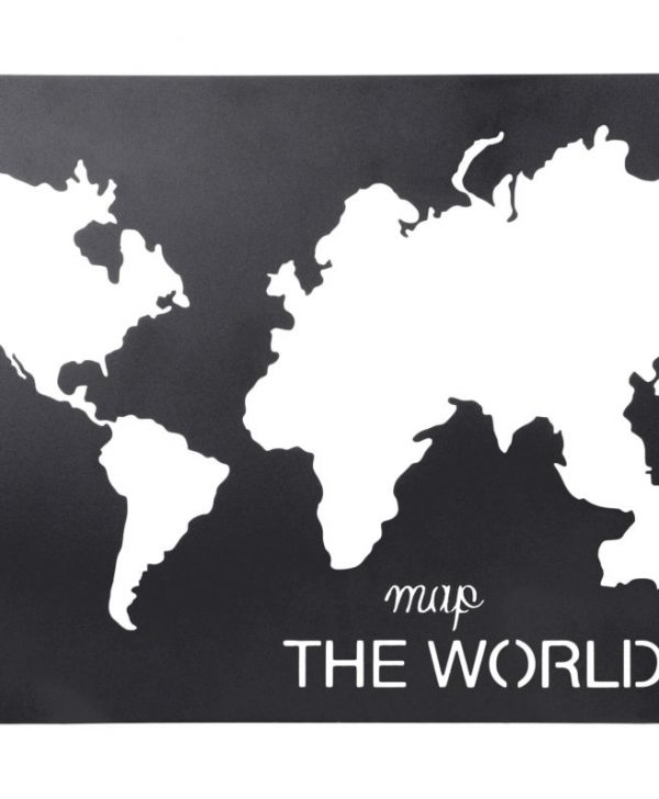 Tablou harta lumii metal Handcraft Noir 40x60 cm