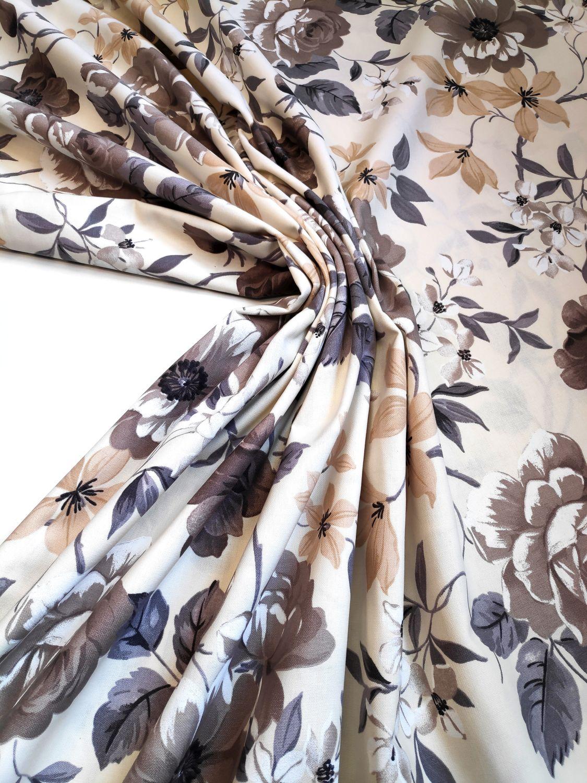 draperii pentru cabana cu flori bej maro