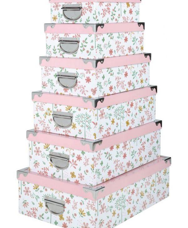 cutii depozitare roz cu floricele Pimprenelle