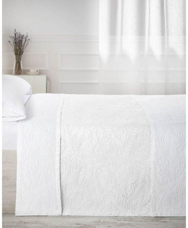 cuvertura pat alba frunze 7624 Blanco