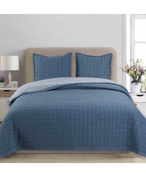 cuvertura pat albastra moderna 7882 Lucrezia Azul