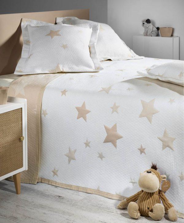 cuvertura pat stelute bej 7622 Stars