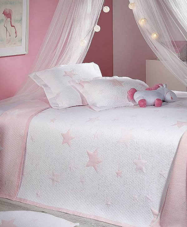 cuvertura fetite roz stelute 7622 Stars