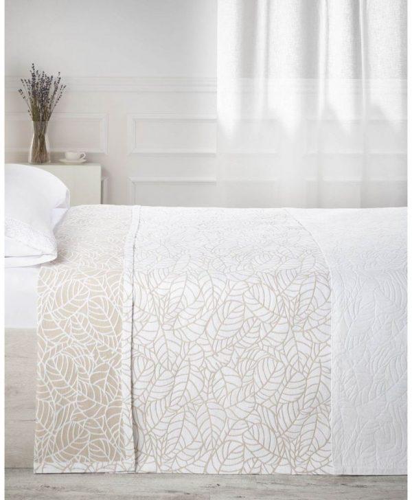 cuvertura pat frunze albe bej 7624