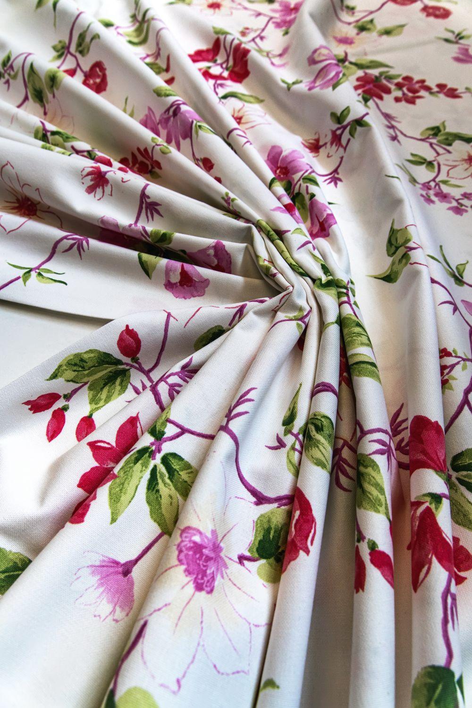 draperie bumbac floricele mov