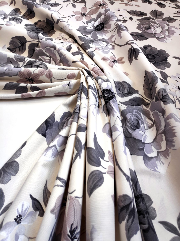 draperie florala bej bumbac Preston
