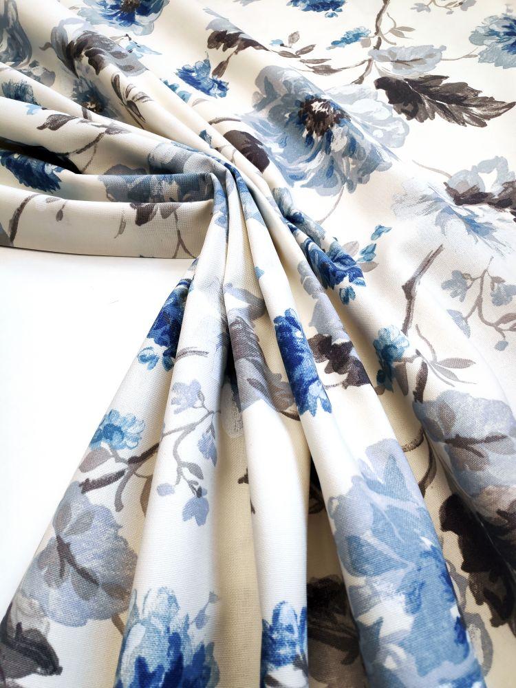 draperie bej albastru flori Goya