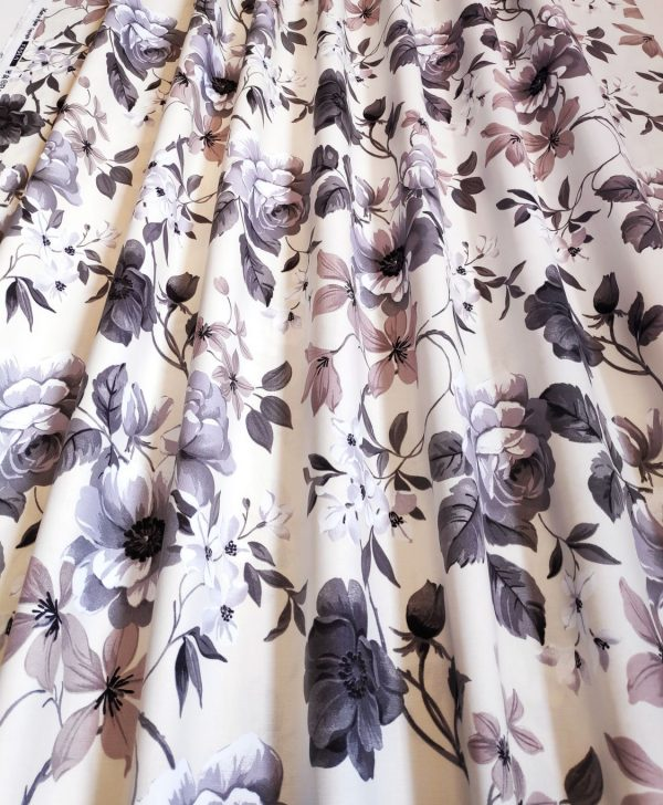 bumbac draperie cu flori bej si maro