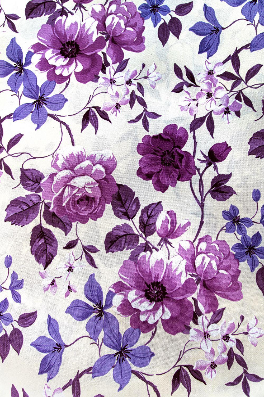 draperie bumbac flori mari mov Preston