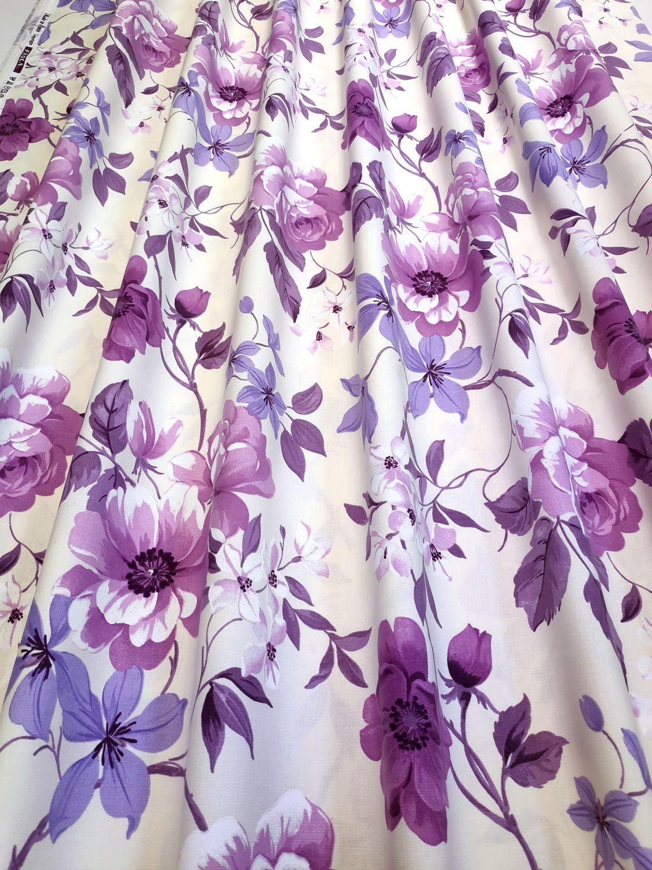 draperie flori mov bumbac