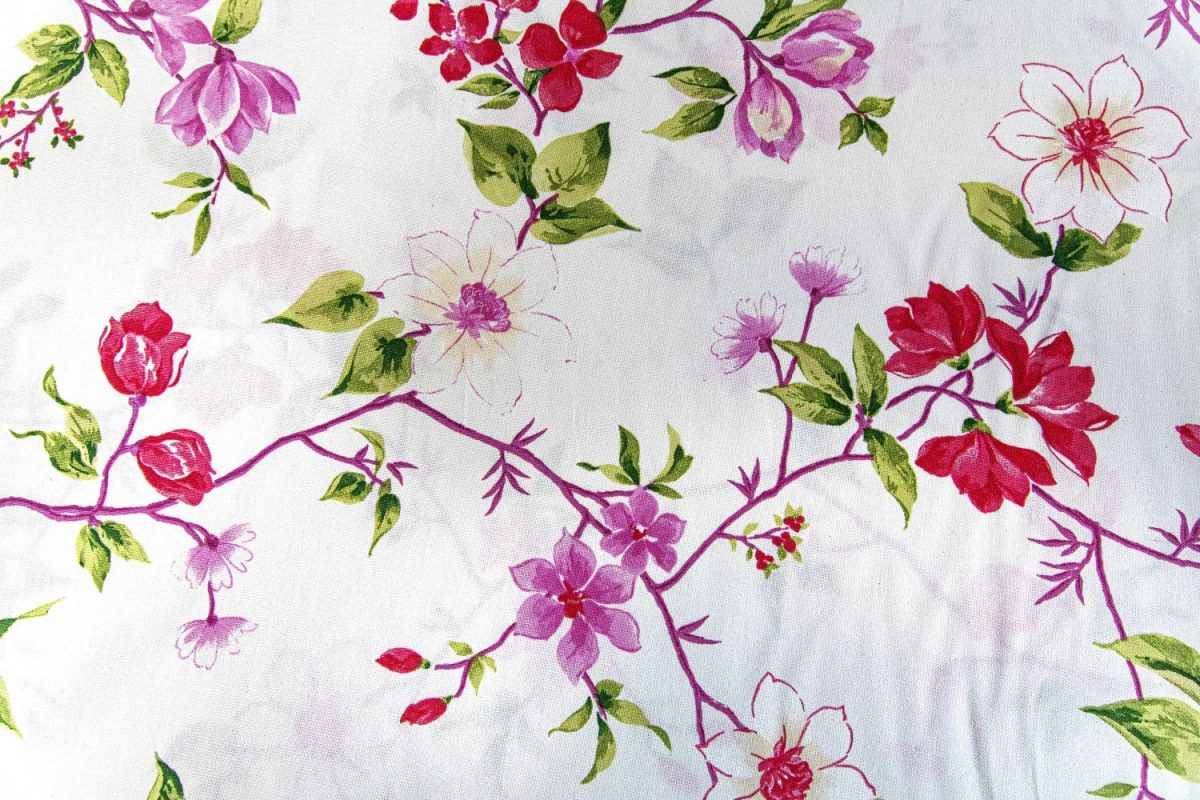 draperie bumbac flori albe, roz Ginebra