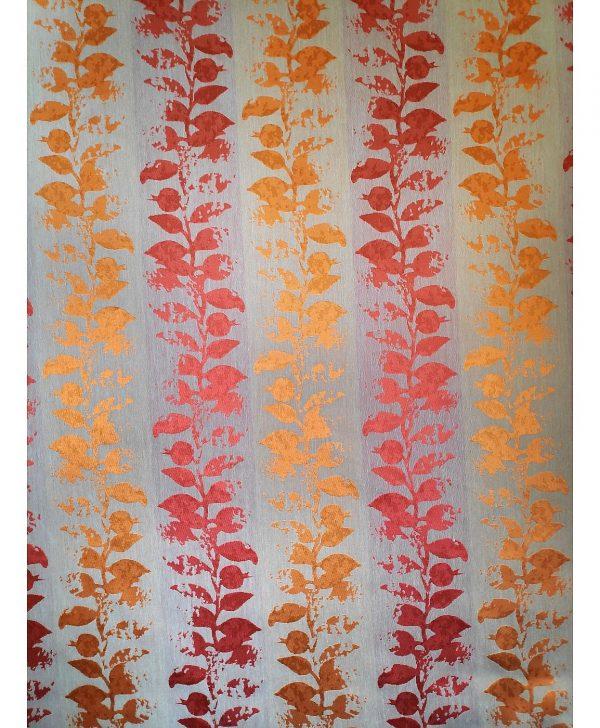 draperie portocalie cu flori rosii