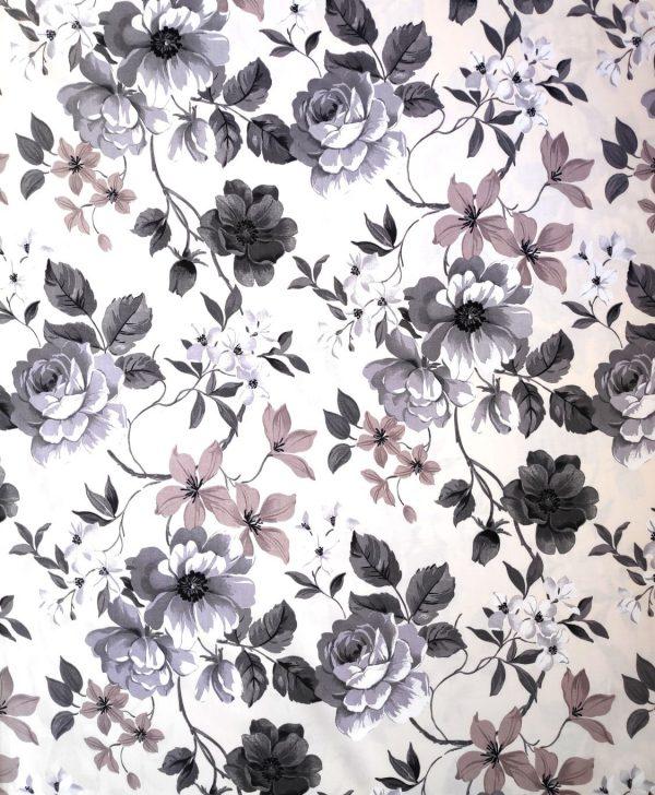 draperie bumbac flori bej si maro