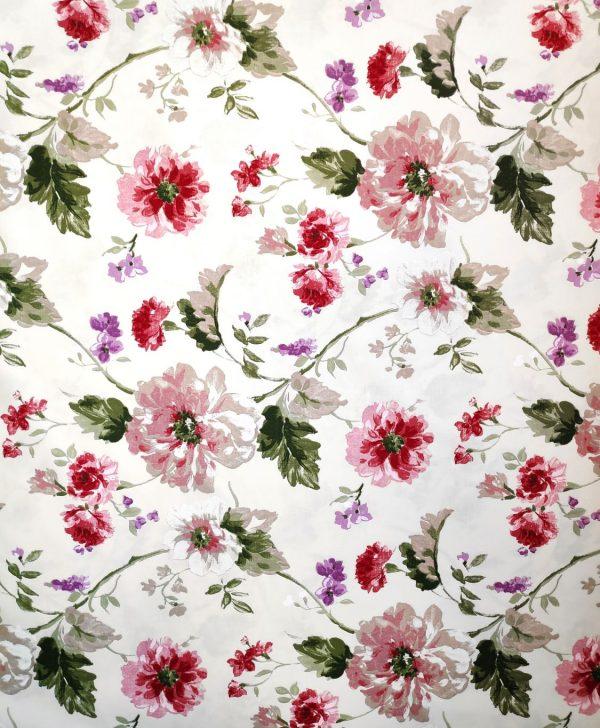 draperie flori bumbac rosii