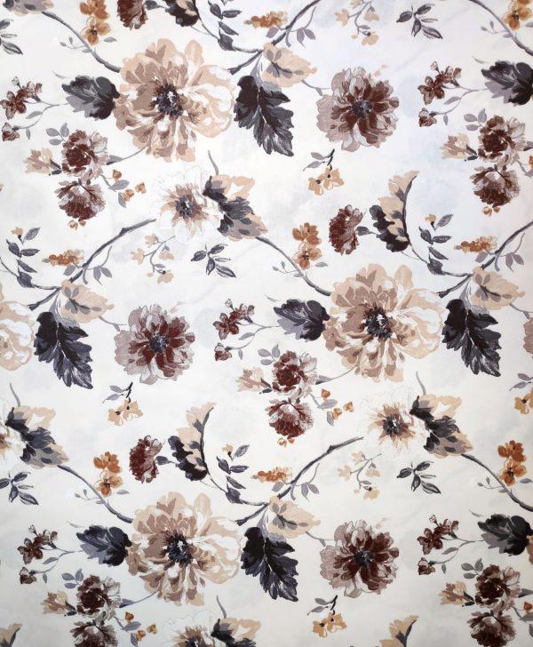 draperie bej cu flori maro