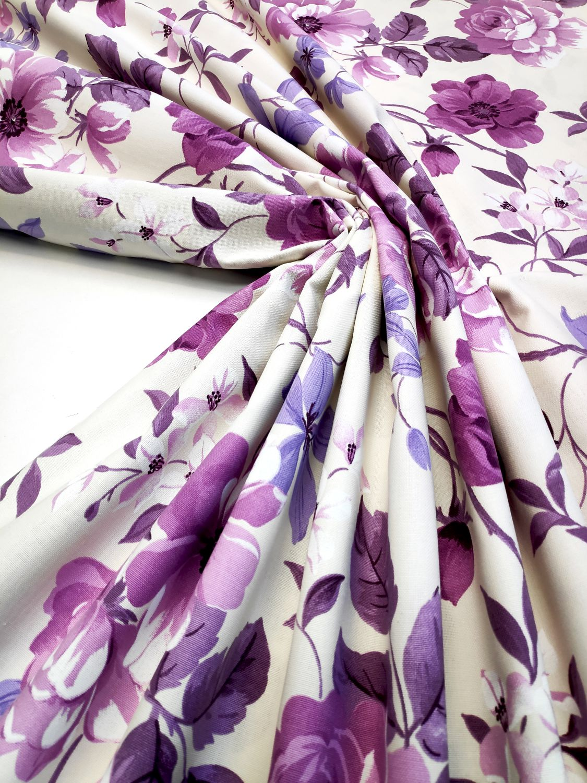 draperie mov flori bumbac Preston