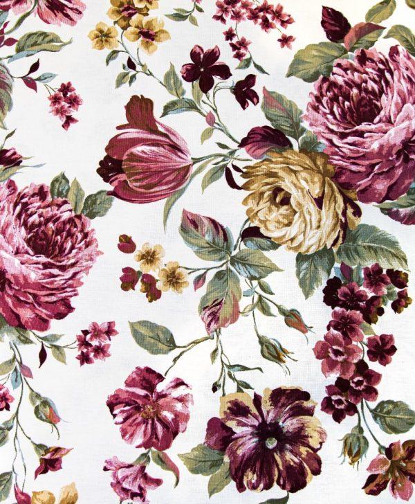 draperie clasica bej flori mari rosii Orleans