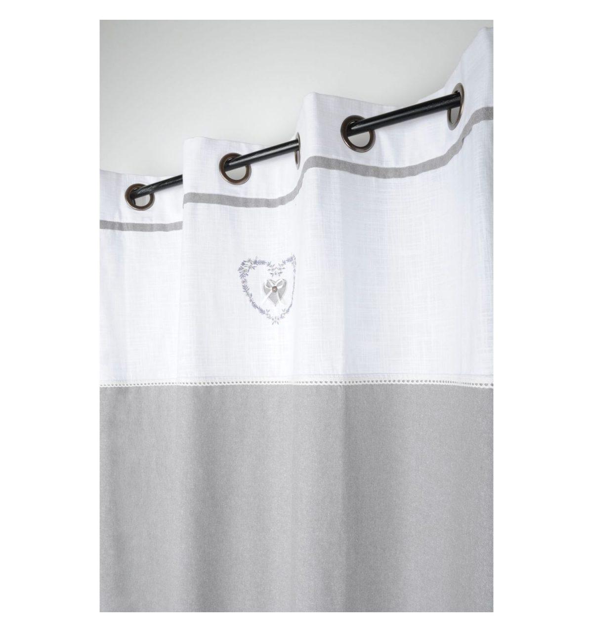 draperie gri cu alb bumbac confectionata Pauline Gris