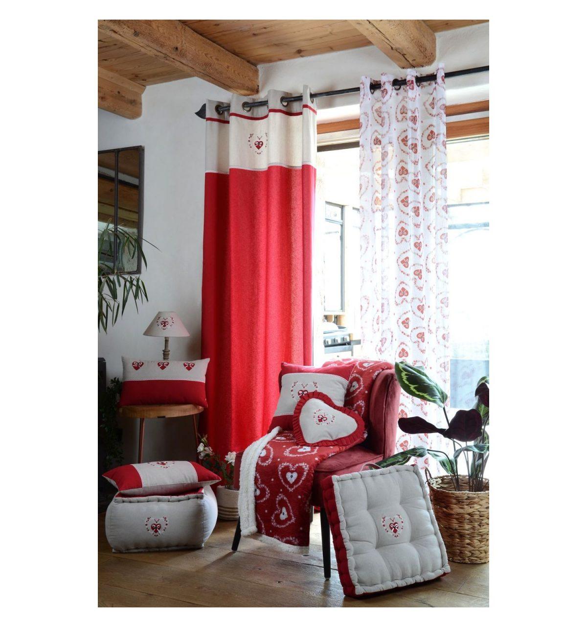 draperie rosie bumbac confectionata Pauline Rouge