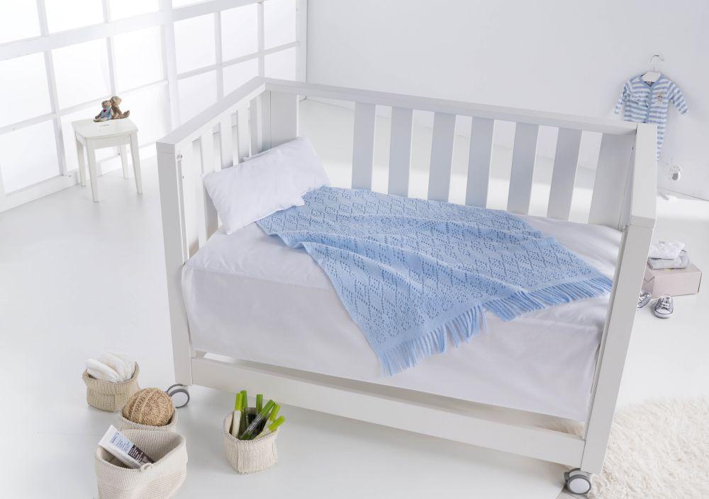 patura bebe albastra bumbac crosetata 2308