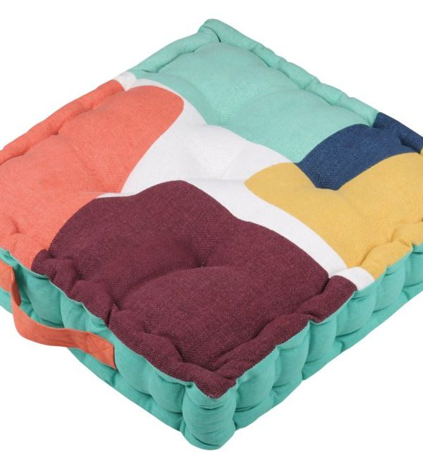 perna geometrica podea bumbac Stripes Multicolor 45x45x10 cm