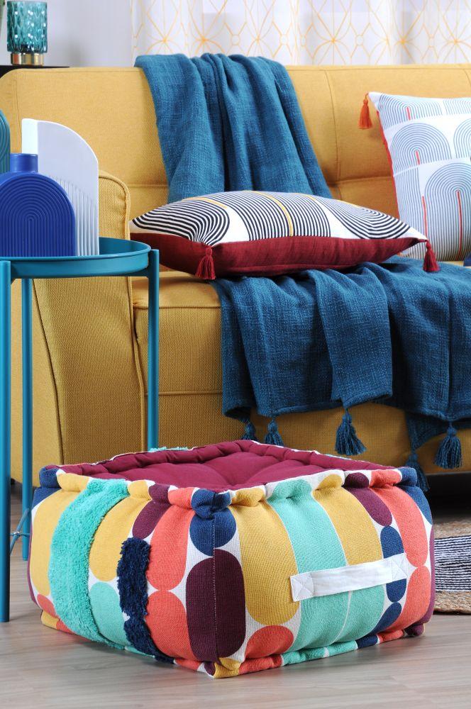 geometric perna podea colorata Stripes Multicolor 45x45x10 cm