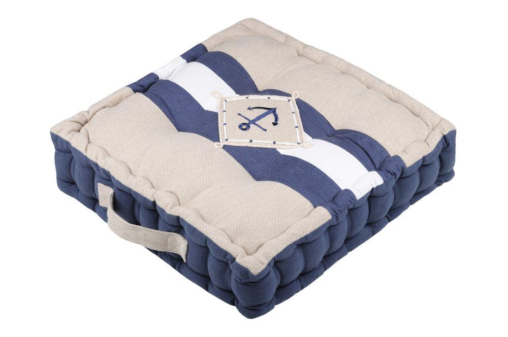 perna podea bej albastru cu maner Olonne Merine 45x45x10 cm
