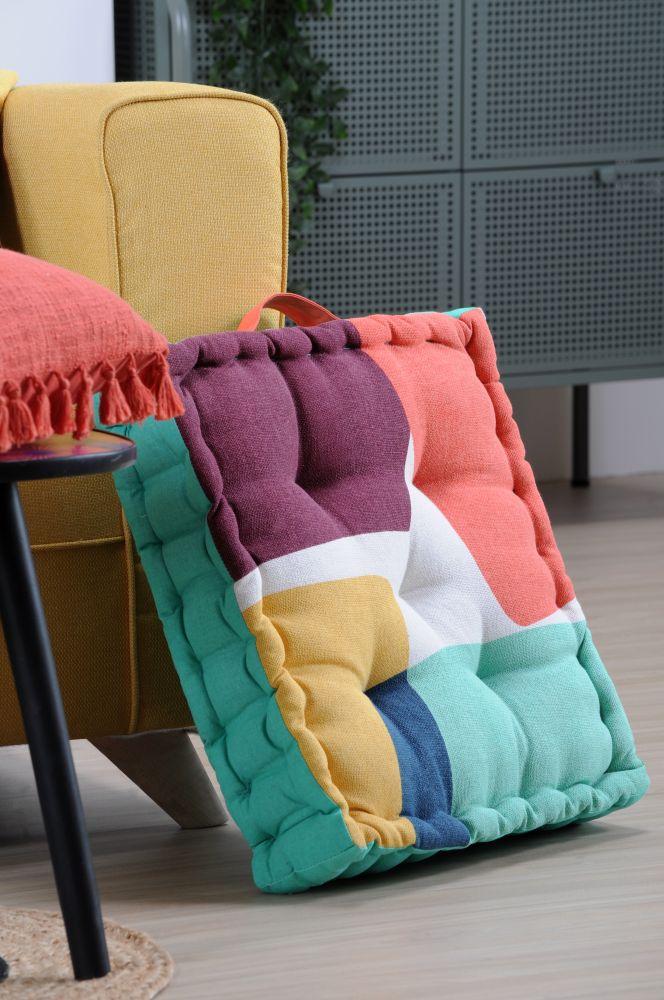 perna colorata podea bumbac Stripes Multicolor 45x45x10 cm